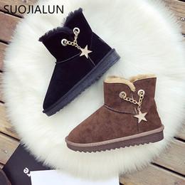 752a2912 SUOJIALUN Mujeres Botas de Invierno Cálido Felpa Plantilla Botas de Nieve  2018 Ruso Nueva Cadena Slip On Fur Mujer Tobillo zapatos casuales