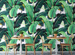 banana paper NZ - Custom Wall Mural Wallpaper European Style Retro Hand Painted Rain Forest Plant Banana Leaf Pastoral Wall Painting Wallpaper 3D