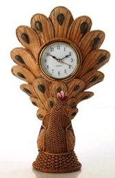 Antique Table Desk Canada - 051401 Desk Clocks alarm table director crafts projection desktop Southeast Asia amorous feelings resin handicraft The peacock