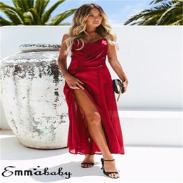 Red Maxi Backless Dress NZ - Trendy Women Dress sleeveless solid Blue Red V-neck backless casual Boho Summer Beach Polyester Dresses one pieces