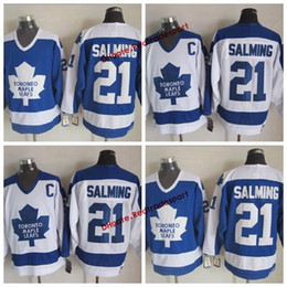 stitched patch jersey hockey UK - Vintage Toronto Maple Leafs Borje Salming Hockey Jerseys Home Blue Mens Cheap Classic #21 Borje Salming Stitched Hockey Shirts C Patch