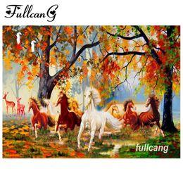 Discount handmade painting scenery - FULLCANG diy diamond painting autumn scenery horse handmade needlework diamond embroidery kits rhinestone mosaic paintin