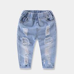 Denim Kids Pant Canada - Toddler Baby Children Boy Casual Broken Hole Jeans Denim Kid Trousers Pants