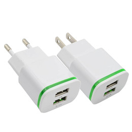 China Universal 5V 2A EU US LED Light Dual USB Ports Mobile Phone Wall Travel Power Charger Adapter For Samsung iPhone Smartphones suppliers