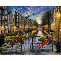 $enCountryForm.capitalKeyWord NZ - Frameless City Diy Painting By Numbers Landscape Vintage Wall Painting Acrylic Paint On Canvas For Living Room 40x50cm