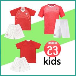 73f53bfbc 2018 kids kit Switzerland soccer Jersey 18 19 home red Children Switzerland  Jerseys EMBOLO XHAKA RODRIGUEZ youth boys Football shirt custom
