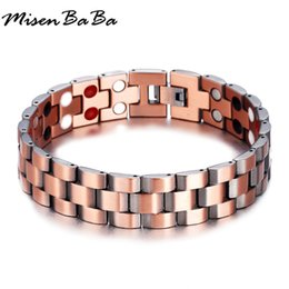 Discount bracelet health wristband - Men Bracelets Vintage Germanium Magnetic Wristband Energy Balance Health Care Copper Chunky Chain Male Bracelets Bangles