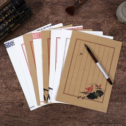 Stationery Australia - 1pcs trip special antique stationery letterhead Chinese antique vintage ink kraft paper white paper set of 8 into