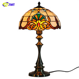 """Discount baroque bedding - FUMAT 12"""" Baroque Table Lamps Tiffany Stained Glass Lampshade Table Light For Bed Room Dining Room Living LED Light"""