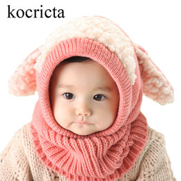 Discount wholesale cotton yellow scarves - Winter Baby Warm Knitted Hats Kids Girls Boys Woolen Cute Hood Scarf Toddler Earflap Cloak with Ears Cosplay Balaclava