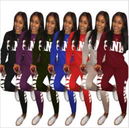 Розовое письмо Версия для печати 2 шт. Комплект женщин 2018 плюс размер и брюки Повседневные костюмы для пота 2 шт. Комбинезон из спортивной одежды с длинными рукавами