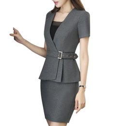ff4f0fbe58 Nova primavera moda profissional das mulheres saia terno verão eleformal  blazer e saia escritório senhoras plus size uniformes