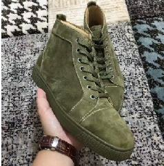 Green Gingham Canada - New mens womens high top green suede red bottom casual shoes,fashion gentleman designer lace-up sneakers size 36-46