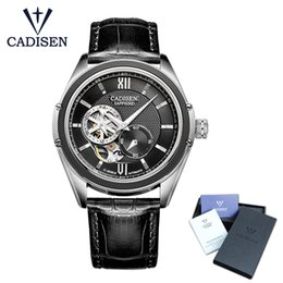 men watches resistant 2019 - CADISEN New Luxury Golden Mechanical Automatic Wrist Watch Rome Men Stainless Steel Band Skeleton Dial Mens Watch Time G
