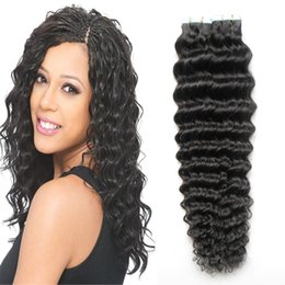 "Wholesale Brazilian Deep Wave Hair Australia - Tape In Human Hair Extensions 16"" 18"" 20"" 22"" 24"" 26"" 28"" 100G Brazilian Deep Wave Hair 40Piece Adhesives Tape PU Skin Weft Invisible"