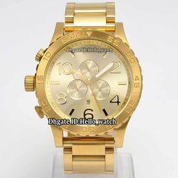Discount band cases - New 51mm NIXO 51-30 Chrono A083-502 A083502 Gold Dial Miyota Quartz Chronograph Mens Watch 18K Gold Case Band Gents Watc
