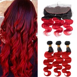Discount black red ombre hair weave - Black Roots Red Ombre Hair Bundles with Frontal Lace Closure Two Tone 1B Red Body Wave Wavy Ombre Human Hair Weaves with