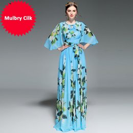 $enCountryForm.capitalKeyWord NZ - 2018 Runway Maxi Dress Women's Flare sleeve Belt Casual Bohemian Party Holiday Lemon Floral Print Long Dress