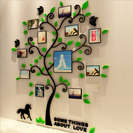 black wall picture frames NZ - 3 Size Colorful Picture Frame Tree 3D Acrylic Decoration Wall Sticker DIY Art Wall Poster Home Decor Bedroom Bathroom Wallstick