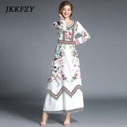 49692887af86 JKKFZY New 2018 Fashion Designer Runway Maxi Dress Women's Long Sleeve Floral  Print Casual Long Dress Boho Beach Vintage