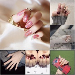 Nail Tools Nails Art & Tools British Style Cute Pure Color Lattice Pattern With Rivet Decoration 3d Fake Nails Japanese Lady Full Nail Tips Bride False Nails
