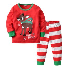 Wholesale Children Clothing Sets Spring Autumn Baby Boys Girls Cute Christmas Deer Print Top Stripes Pants Suits Years Kids Clothes YO40