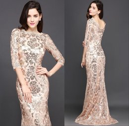 Special occaSion dreSSeS full length online shopping - 2018 Design Rose Gold Prom Party Special Occasion Dresses Mermaid Long Sleeves Full Sequins Lace Evening Dress Gowns