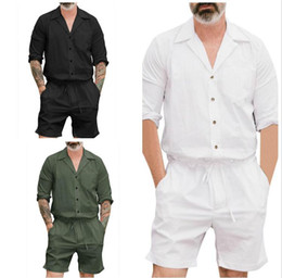 $enCountryForm.capitalKeyWord NZ - 2018 Men's Stretch Jumpsuit Male Short Sleeve Rompers Short Cargo Pants Summer Single Breasted Tops Trousers Plus Size 4XL 5 Colors