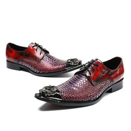 metal coolers UK - High Class Red Snake Pattern Leather Men Dress Shoes Lace Up Pointed Metal Toe Wedding Shoes Party Nightclub Footwear Male Cool