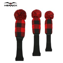 Golf Club Head Covers NZ - Knitted Golf Club Headcover sets 1 3 5 wood head protection red green blue gray color driver fairway golf head cover