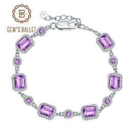 9c5253e2b luxury jewelry 925 Sterling Silver Gemstone Bracelets   Bangles Natural  Amethyst Bracelet For Women Wedding Fine Jewelry 10.5Ct