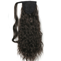 "human hair ponytail UK - 120g Kinky Curly Ponytails 55CM,22"" Clip in Ponytail Hair Extension Black&Brown Curly Horsetail Pony Tail human hair Hairpieces"