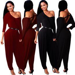 $enCountryForm.capitalKeyWord NZ - Asymmetric One Shoulder Full Sleeve Harem Pant Jumpsuit Combinaison Femme Sexy Women Backless One Piece Long Overalls No Belt