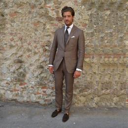 Suits Linen Canada - Summer Brown Linen Men Suits for Wedding Suits Gentle Male Blazers Slim Fit Groom Tuxedos Casual Groomsmen Jacket 2 Pieces Prom Wear