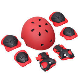 youth pads 2019 - 7 pcs Kids Youth Adjustable Sports Protective Gear Set Wrist Elbow Knee Pads and Helmet Skate Bicycle Skateboard Accesso