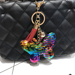 Car Led Side NZ - New double-sided reflective sequins butterfly tassels keychain pendant decorations car key luggage pendant