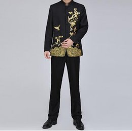 $enCountryForm.capitalKeyWord NZ - New Chinese Jacket Stand Collar Black Suit Men's Festival Traditional Mandarin Embroidery Tuxedo Men's Stage Costume (Jacket + Pants)