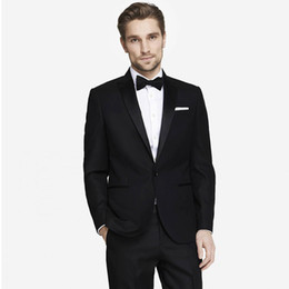 green men s fitted suit UK - Men Suits 2018 Black Peaked Lapel Fashion Custom Made Wedding Suits For Man Bridegroom Tuxedos Blazer Slim Fit Formal Best Man Prom 2Piece