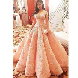 $enCountryForm.capitalKeyWord Canada - Charming Lace Ball Gown Evening Dresses See Through Jewel Neck Short Sleeves Beads Appliques Evening Gown Saudi Celebrity Red Carpet Dress