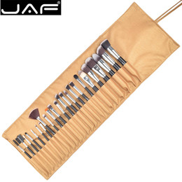 Taklon hair online shopping - JAF Synthetic Soft Taklon Makeup Brush set High Quality Make Up Brushes Professional Cosmetic Kit in Leather Pouch J2404YC