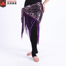 sequin fringe dance Australia - 2018 Belly Dance Costume Triangle Hip Scarf Sequin Fringe Tassels Belt 7 Colors