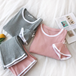 08c9767138 Summer Korean Women Pajamas Sets Solid O-neck Short Sleeve Bow Pullover +  Elastic Waist Long Pants Female Sweet Twinset 2pcs Set