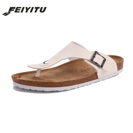 950ff98d5fdd2 FeiYiTu New Summer Men Beach Cork Slippers Sandals unisex Casual Double Buckle  Clogs Sandalias Slip on Flip Flops Flats Shoes