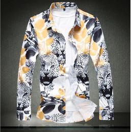 cde55ff4031 Bird Flower Print Shirts Canada - Spring New Men s Clothing Long Sleeved  Flowers Bird Printed Slim