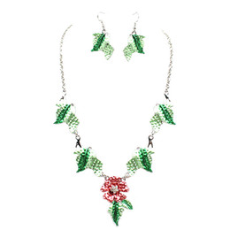 $enCountryForm.capitalKeyWord NZ - New Enamel Rhinestone Jewelry Sets Green Color Leaves Red Flower Oil Painting Pattern Stud Earrings and Necklace Jewelry Set