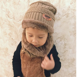 3da94ca2 2018 dome thick wool hat children plus velvet baby winter warm hat scarf  two-piece boy and girl collar suitable for age 2 to 10 years old