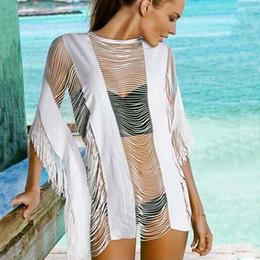 8f9ad09b321b6 New Women beach bikinis cover ups tassel dresses swimwear loose blouse  summer sunscreen swimsuit shirt crochet hollow sexy seaside beachwear