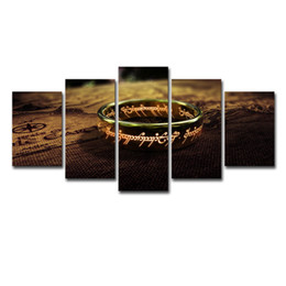 Framing Canvas Prints Australia - Canvas Wall Art Posters HD Prints Painting Frame For Living Room Home Decor 5 Panel World Map Lord Of The Rings Pictures