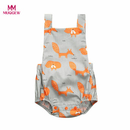 fox romper clothing Canada - MUQGEW Summer Toddler Baby Girls Clothing Fox Floral Print Vest Sleeveless Cartoon Backless Romper Jumpsuit Clothes for Girls