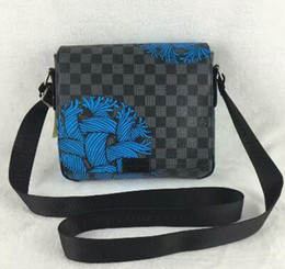 China famous brands logo 5 DISTRICT messenger package classic mens briefcase Checkerboard business package clutch handbag luxury laptop bag wallet suppliers